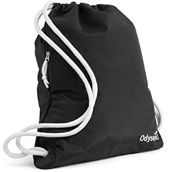 Odyseaco Deluxe Drawstring Gym Bag Waterproof Swimming Rucksack With Large Zip Pocket Best For School
