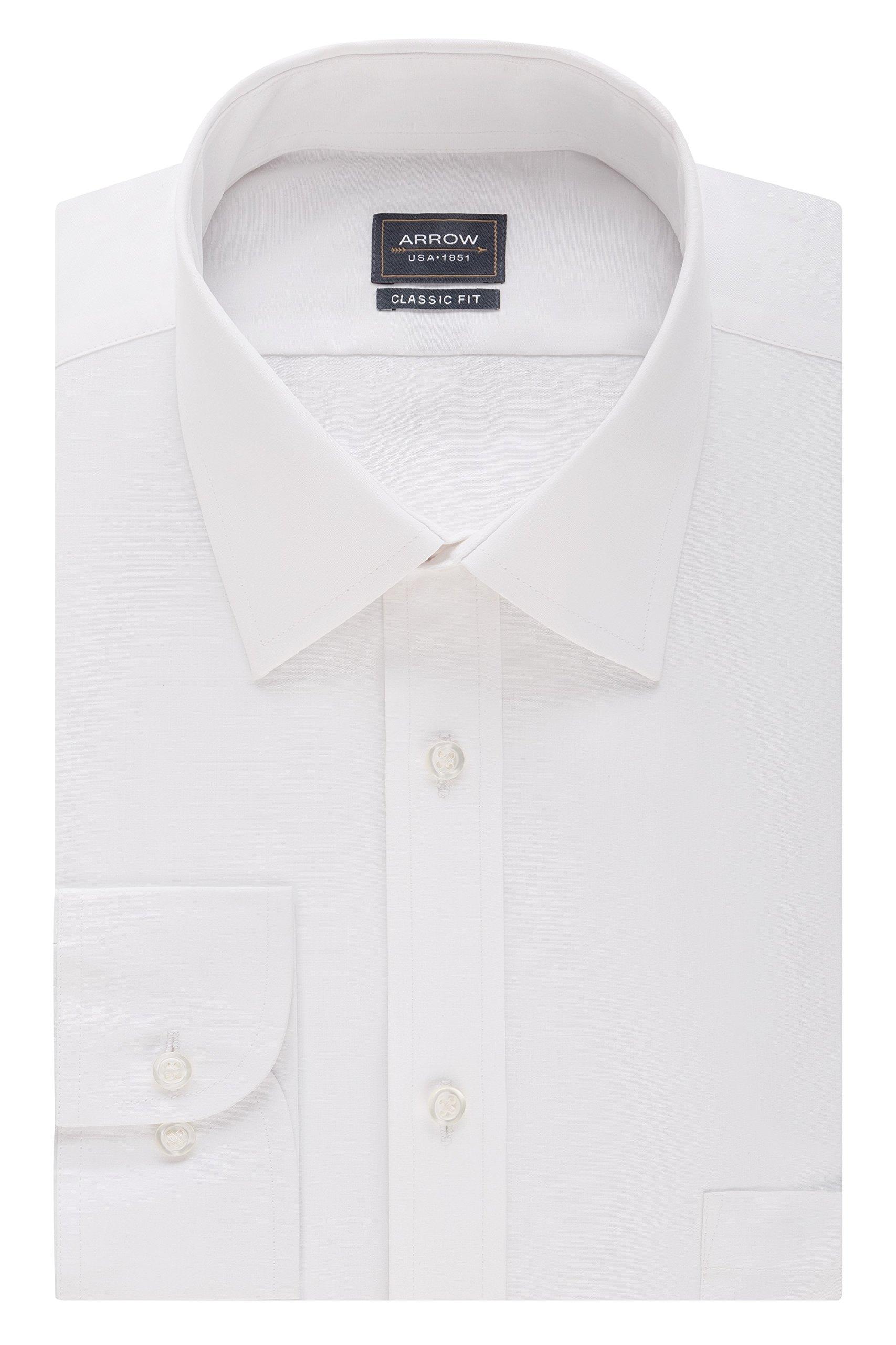 Arrow Men's Poplin Regular Fit Solid Spread Collar Dress Shirt, White, 18-18.5'' Neck 36''-37'' Sleeve