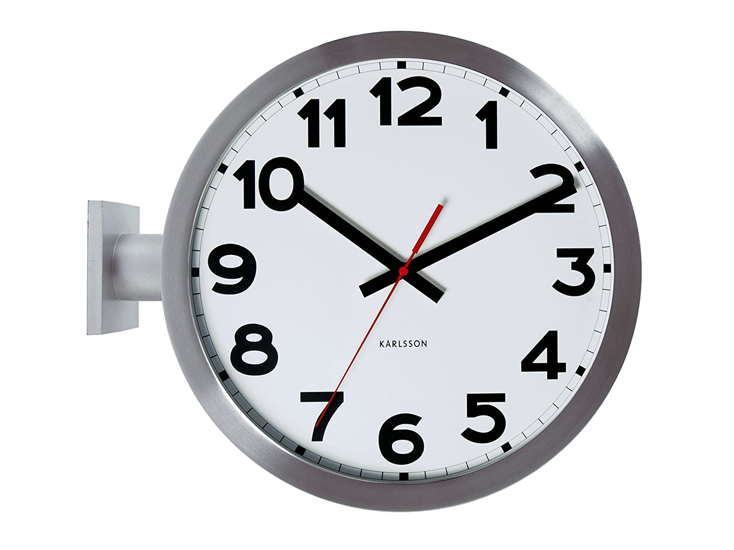Amazon karlsson wall clock double sided aluminum home kitchen amipublicfo Image collections