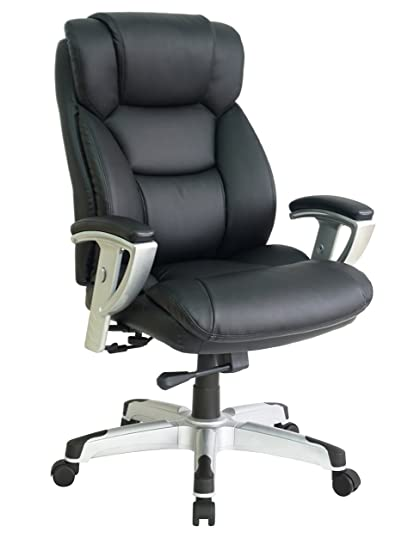 OFFICE FACTOR New Big And Tall Black Executive Office Chair Bonded Leather  Extra Padded Rated To