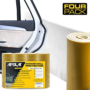 """Apulat Garage Wall Protector – 25% Wider Than Any Other Products - Guards Your car Doors and Garage Walls Against Scratches - 1/4"""" Thick - 4 Strips - White – Reinforced Adhesive Bumpers"""