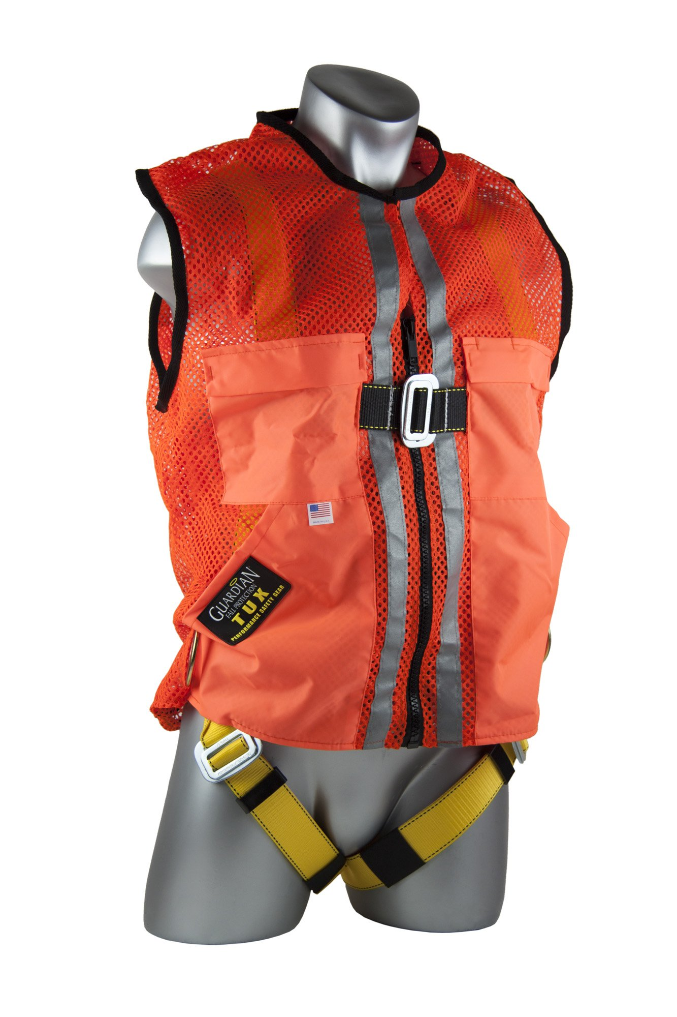 Guardian Fall Protection 02130 Orange Mesh Construction Tux Harness, XL