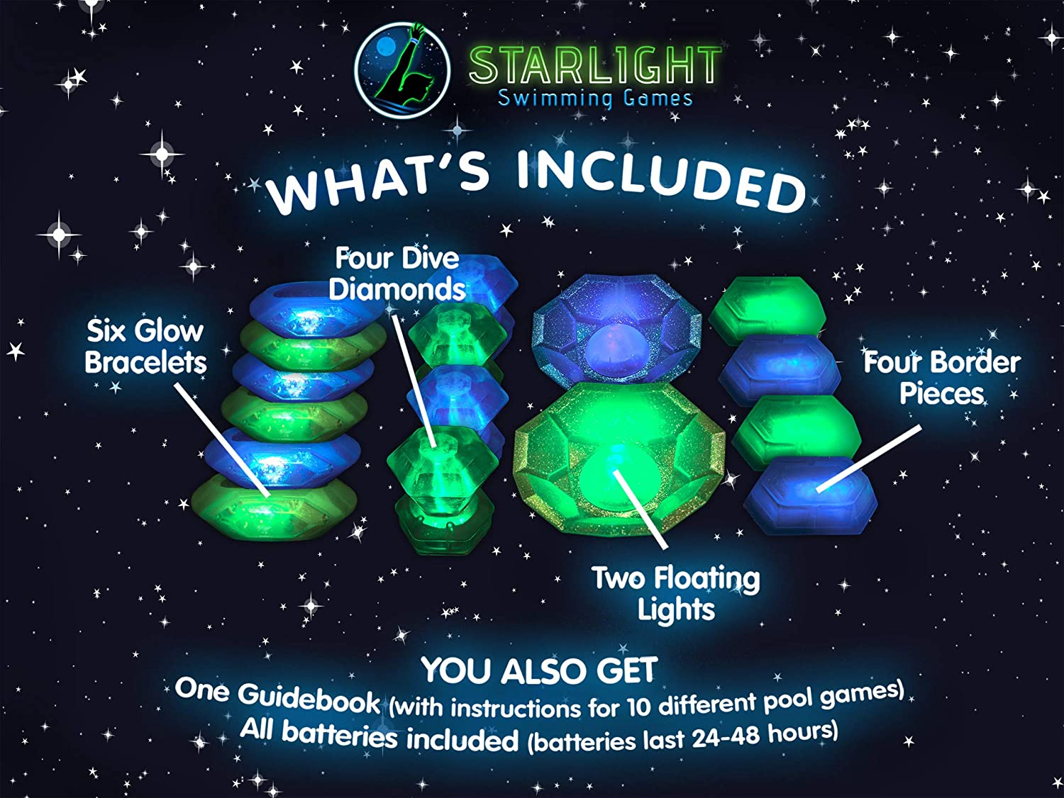 c6a473f247834 Amazon.com  Starlight Swimming Games – The Glow-in-The-Dark Way to Play  Classic Pool Games - More Fun for Kids Than Any Regular Pool Toy or Pool  Accessory  ...