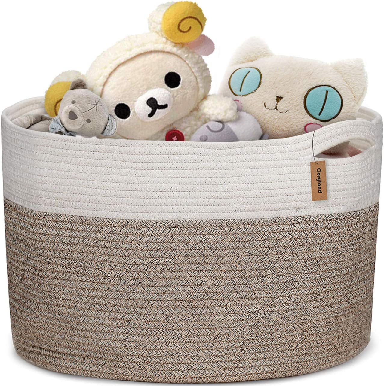 COSYLAND Extra Large Woven Storage Basket 17x15 Cotton Rope Organizer Baby Laundry Baskets for Blanket Toys Towels Nursery Hamper Bin with Handle
