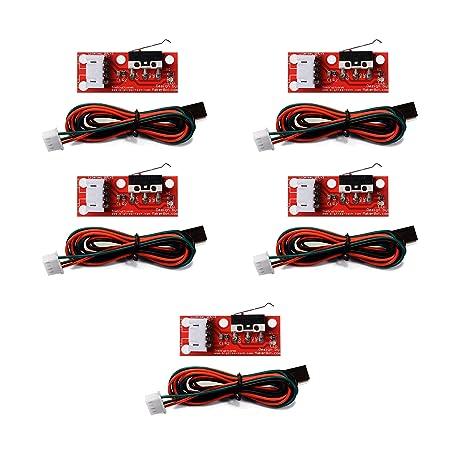 KOOKYE 5 de final de carrera mecánico + Cable interruptor mecánico set para impresora 3D RepRap ensamblar Mendel rampas CNC 1,4