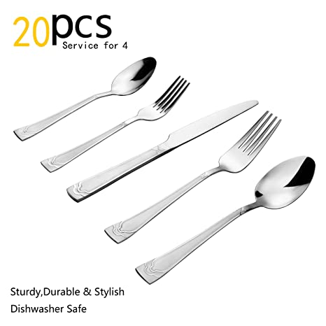 Silverware Set, 20 Pieces Flatware Set With Fork, Knife And Spoon, Service  For