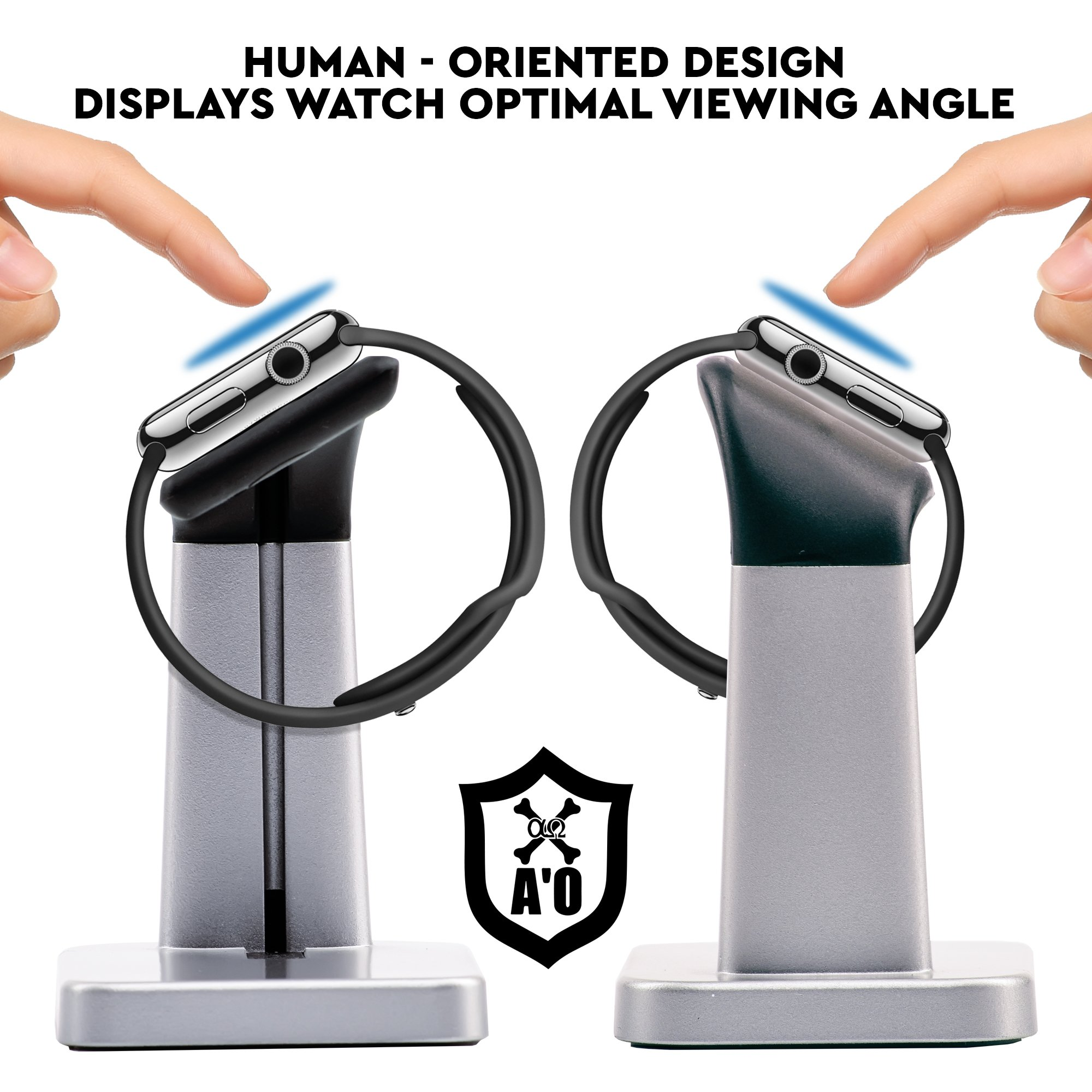 A'O Watch Charger Station Compatible with Apple Watch Charging Dock,iWatch holder stand for smart watches series 38/42mm. Silver black color station, cable not included. Antislip Platform. by A'O (Image #4)