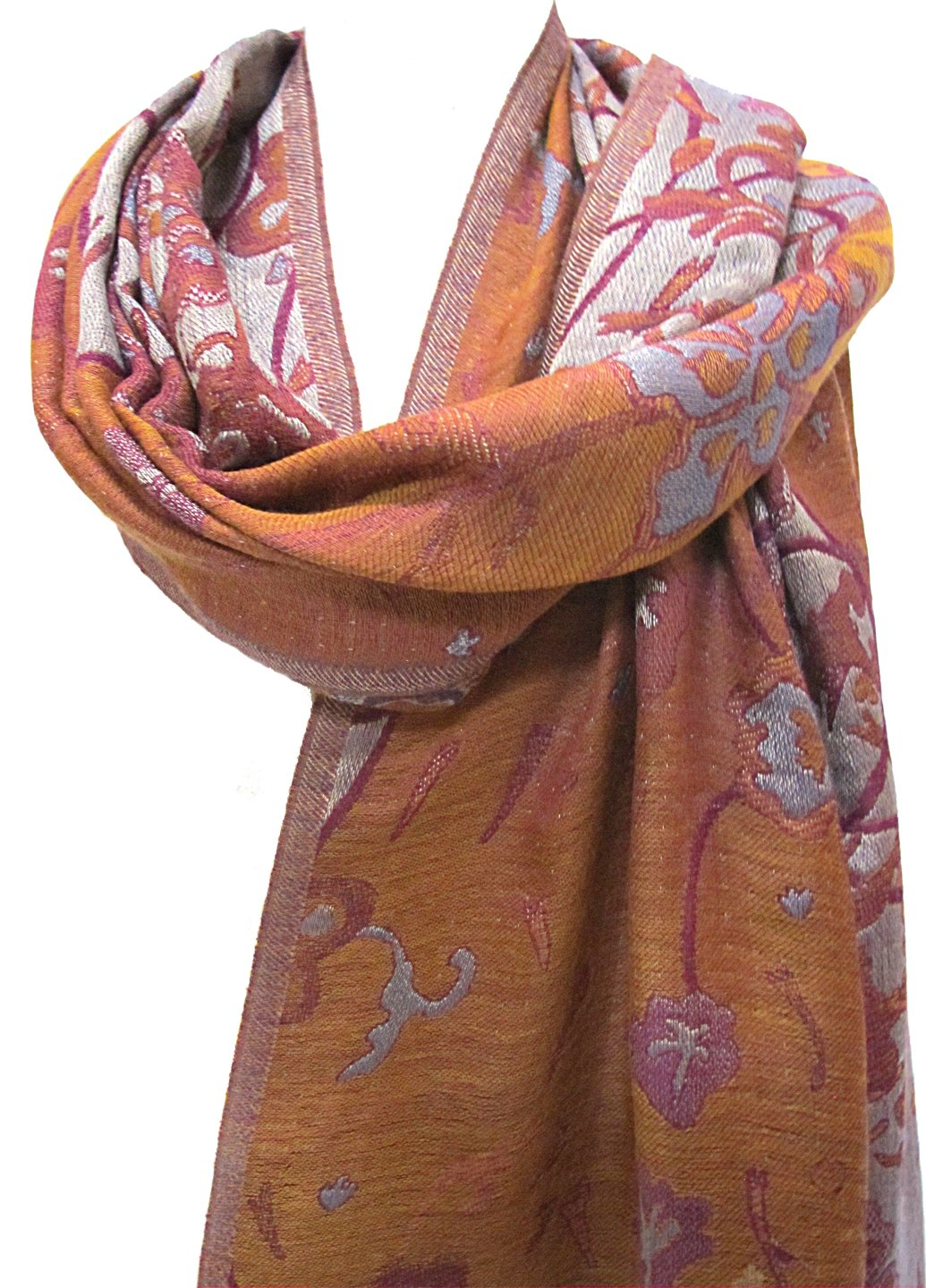 ''Misty Floral'' Silk Merino Wool Shawl Stole Scarf Wrap Purple Copper by Ashiana (Image #1)