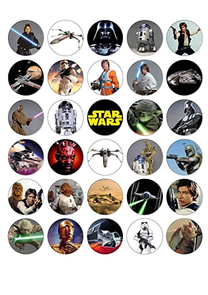 Amazoncom 30 X STAR WARS Edible WaferPaper Cupcake cake toppers