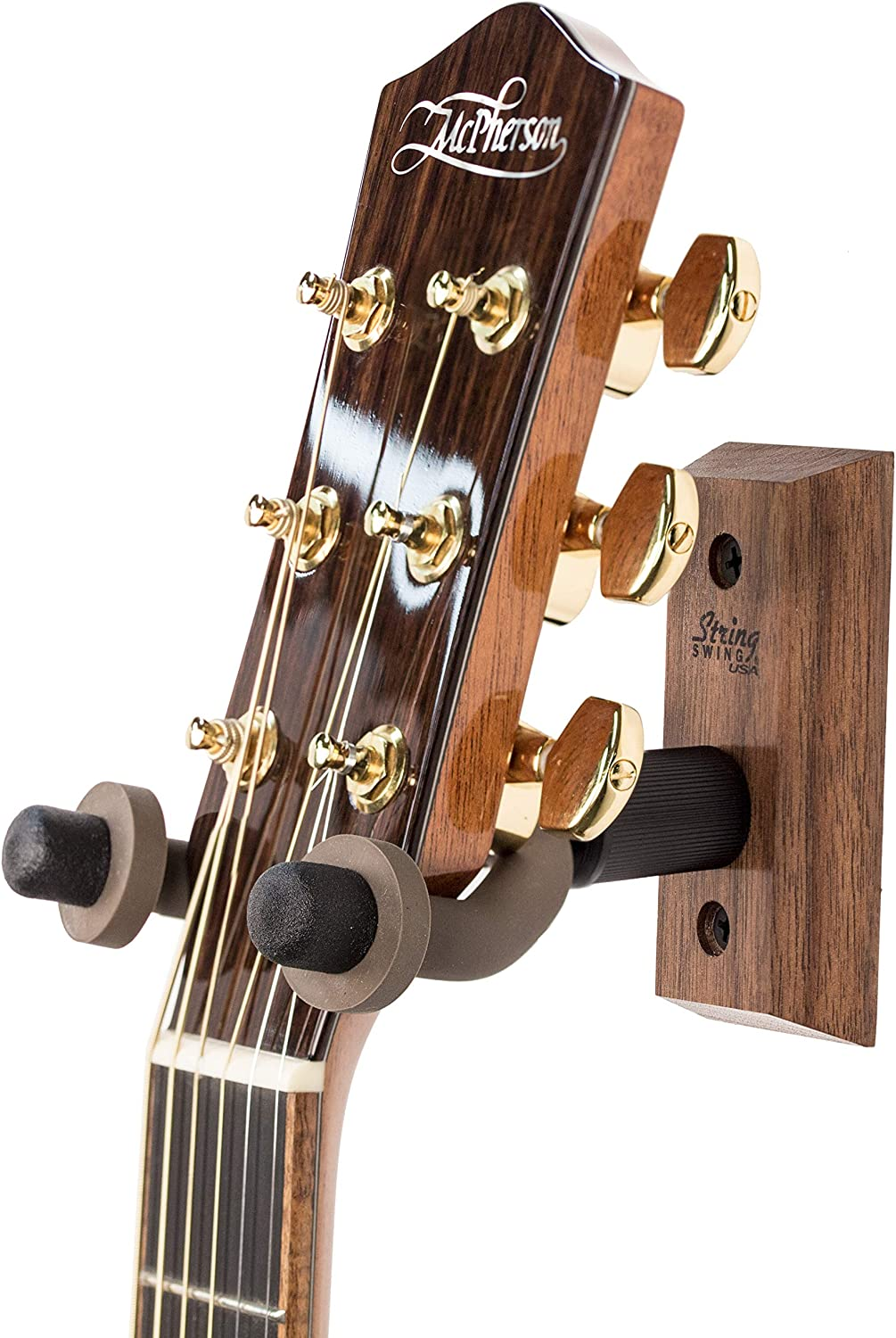 String Swing CC01-BW Hardwood Home & Studio Wall Mount Guitar Hanger - Black Walnut
