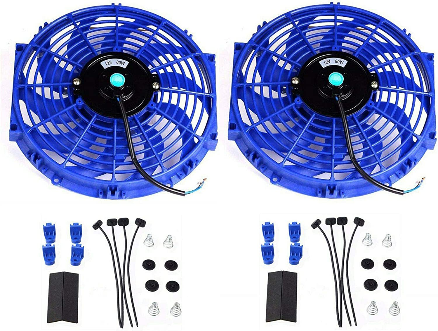 """12"""" 12 Inch Universal Electric Radiator Cooling Push Pull Electric Slim Fan Blue (Pack of 2)"""
