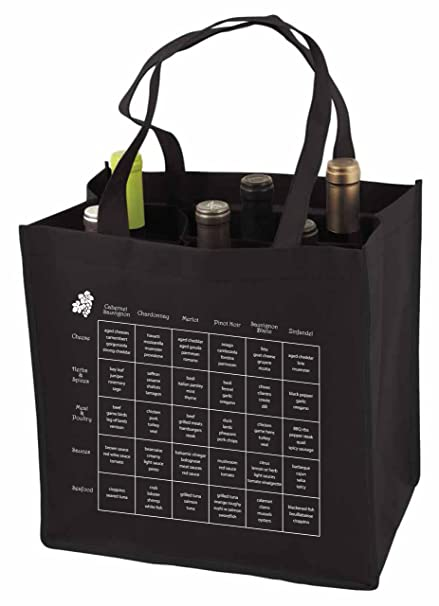 f5914bc72ef 6-Bottle Wine Tote Bag with Storage Compartents and Imprinted Food and Wine  Pairing Chart, Quantity 1, Black