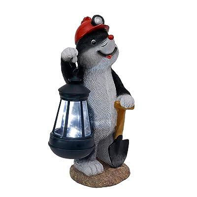 TERESA'S COLLECTIONS 10.8 Inch Adorable Krtek The Mole Holding Lantern Garden Statues, Mole Garden Figurines with Solar Powered Garden Lights for Spring Summer Outdoor Patio Yard Decorations (Resin) : Garden & Outdoor