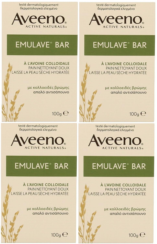 4 x 100 G Aveeno Emulave Bar Hidratante con harina de avena coloidal: Amazon.es: Belleza