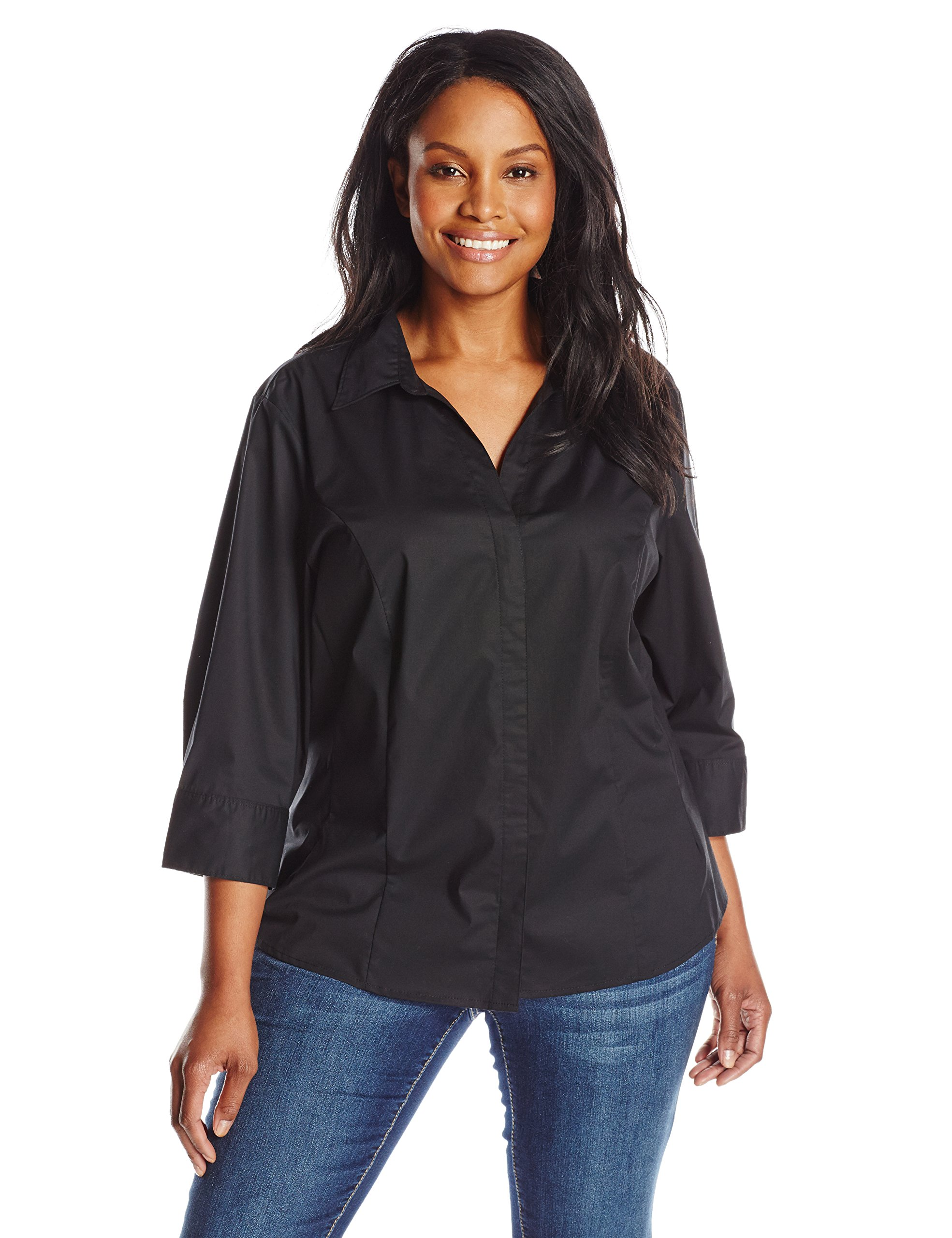 Riders by Lee Indigo Women's Plus-Size Bella Easy Care 3/4 Sleeve Woven Shirt, Black Soot, 4X