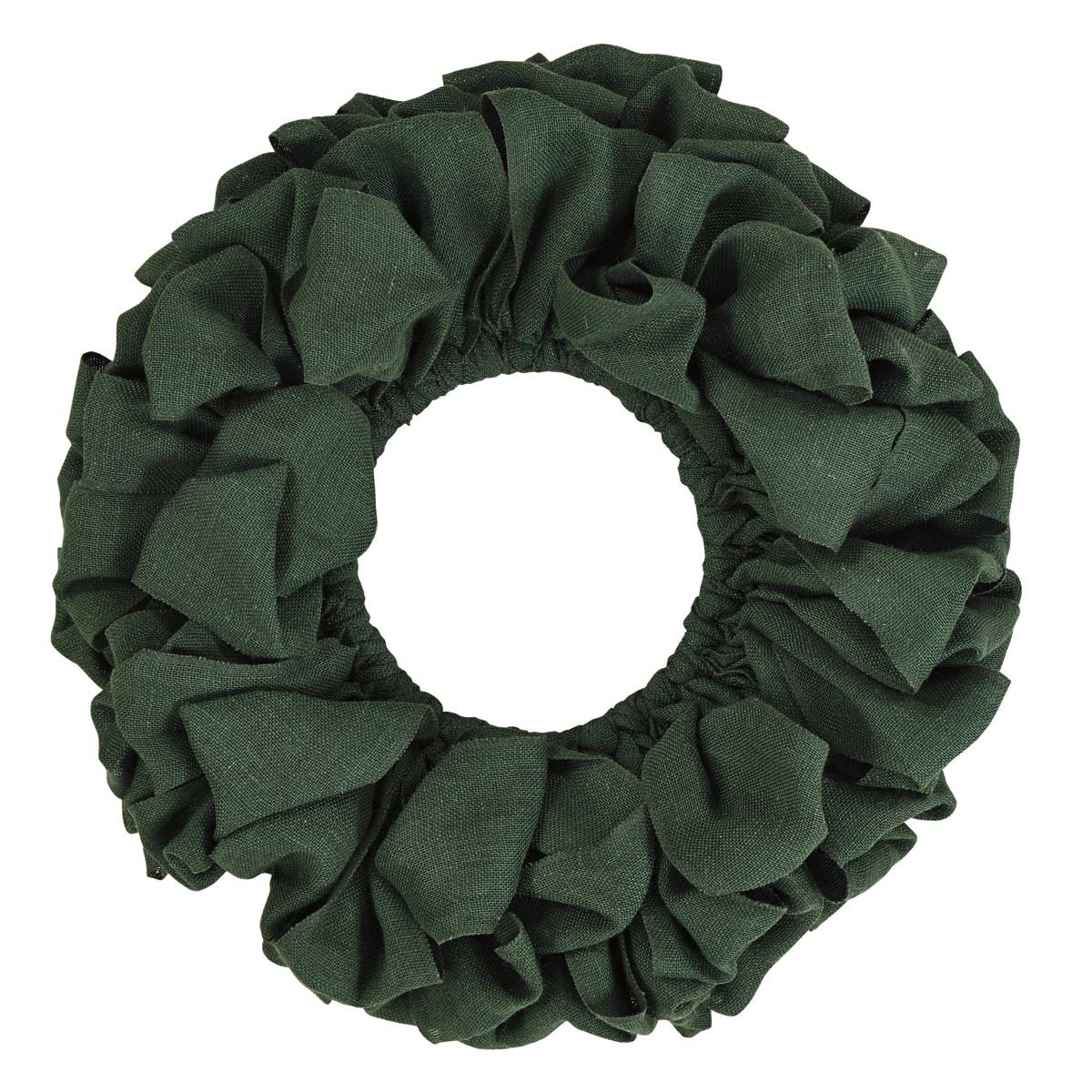 VHC Brands Christmas Holiday Decor - Burlap Round Wreath, Green, 20'' Diameter
