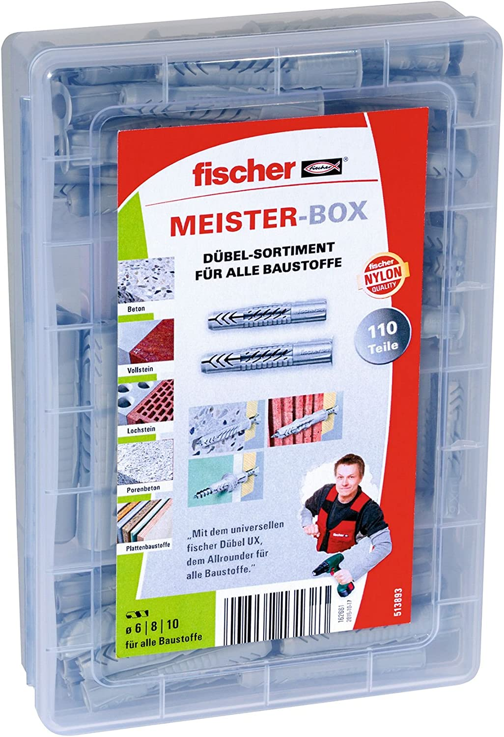 fischer 531227 Meister-Box greenline A2 25 4.5 x 50 15 Stainless Steel 5.0 x 60 Sx dowels Green and Screws 30 8 x 40 Contents: 50 6 x 30