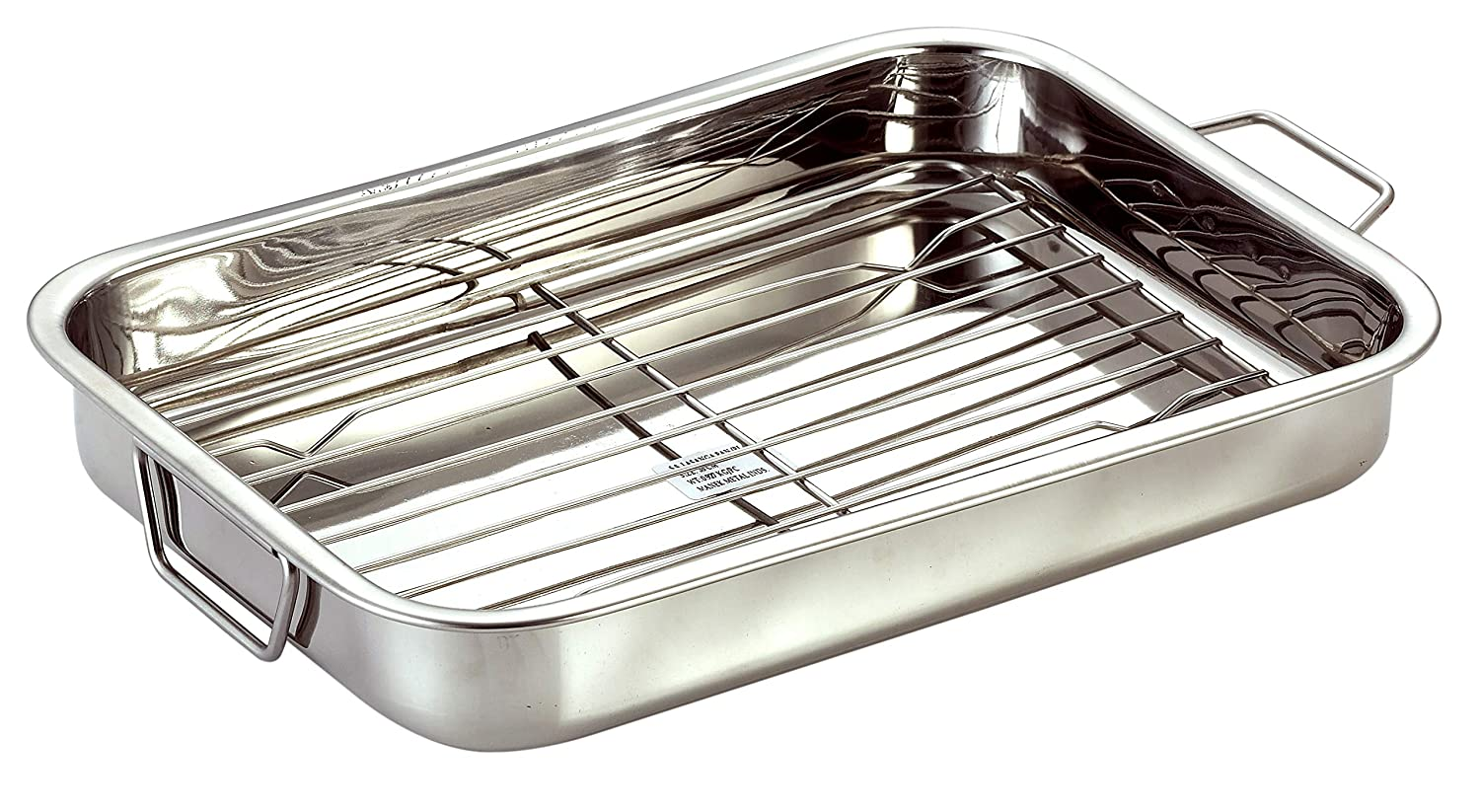 Stainless Steel Roast Pan with Grill Rack & Folding Handles // CHEF DIRECT // Rectangular Lasagna Pan for Baking, Grilling, Roasting // OTG Oven Safe (With Grill Roasting Rack (40cm X 28cm))