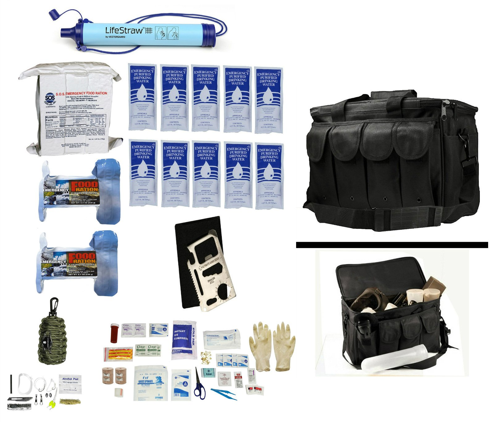 Ultimate Arms Gear 1 Person Supply 5 Day Emergency Bug Out S.O.S. Food Rations, Purified Drinking Water, LifeStraw Personal Water Filter Duty Bag + Survival First Aid Kit & Multi Tool Set by Ultimate Arms Gear