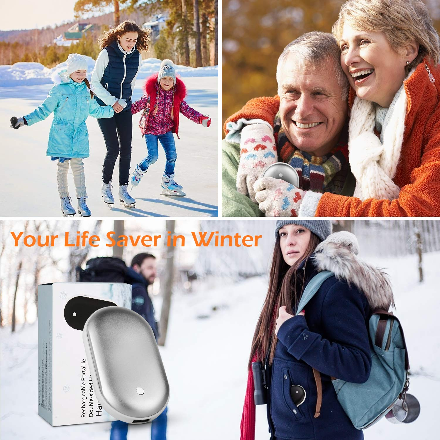 Portable USB Hand Warmer Pocket Size for Women Heat Therapy Outdoor Sports Oasislive Rechargeable Hand Warmer Electric Hand Warmers 5200mAh Powerbank Winter Gift