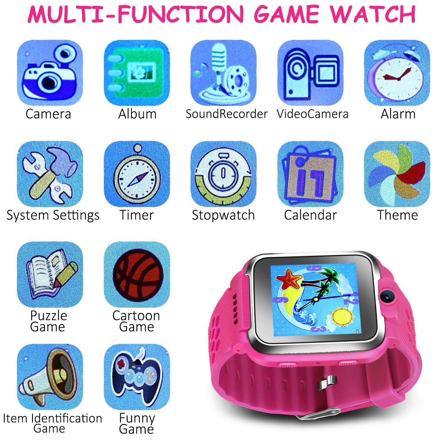 ZOPPRI Kids Game smartwatch Touch Screen Kinds of Games Kids Watch Theme Calendar Stopwatch Alarm Clock Photo Timer Multi-Function Watch Toy Gift for 3-12 Years Old boy Girl Birthday Gift (Pink) by ZOPPRI (Image #5)