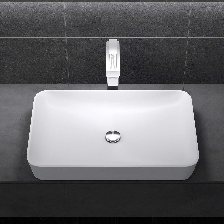 Lavabo vasque /à poser blanc 60cm Sogood Colossum815 en fonte min/érale solid surface 60x40x9cm