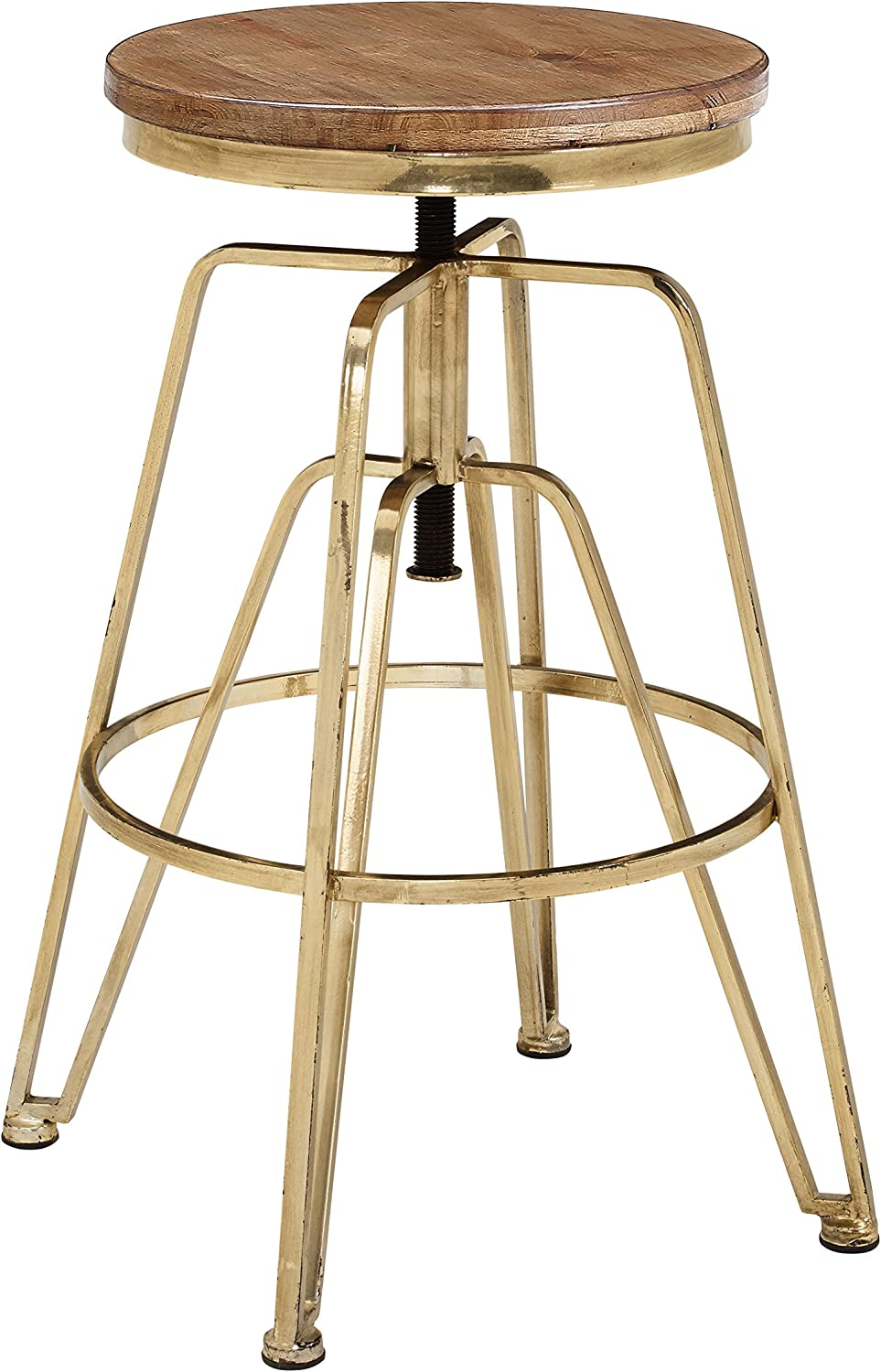 Linon AMMBRASS1AS Wood and Metal Adjustable Stool, Brown/Gold