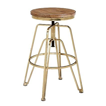 Outstanding Amazon Com Linon Ammbrass1As Wood And Metal Adjustable Inzonedesignstudio Interior Chair Design Inzonedesignstudiocom
