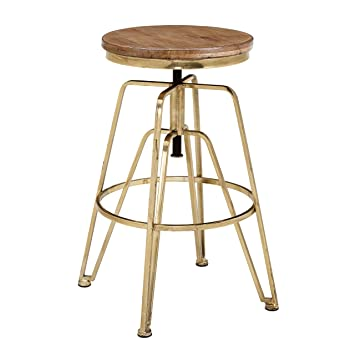 Miraculous Linon Wooden And Metal Adjustable Bar Stool In Brown And Gold Machost Co Dining Chair Design Ideas Machostcouk