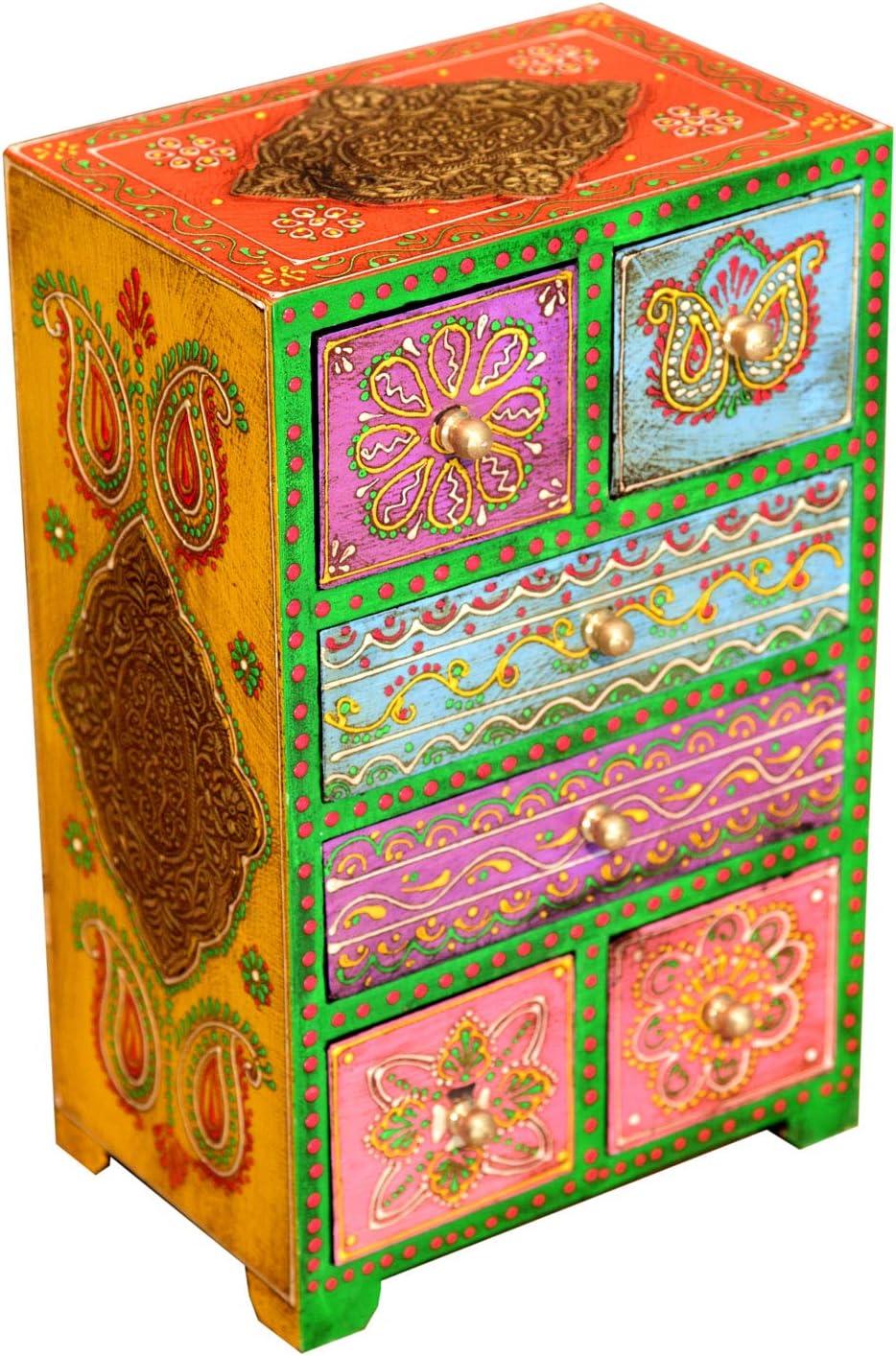 Marrakesch pintadas a Mano Joyero Joyero apother Armario para Joyas Maquillaje Caja Chandra MA28-10