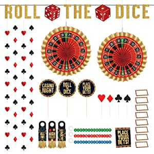 Card Night & Casino Party Bar Decorating Kit - Roulette, Dice, and Suits Table Decorations, Food Accessories, and Hanging Decor (29 Piece Set)