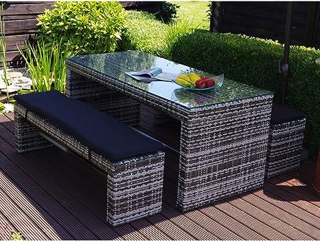 Muebles de ratán sintético banquetas Bar mostrador de cristal jardín Bar en el jardín: Amazon.es: Jardín