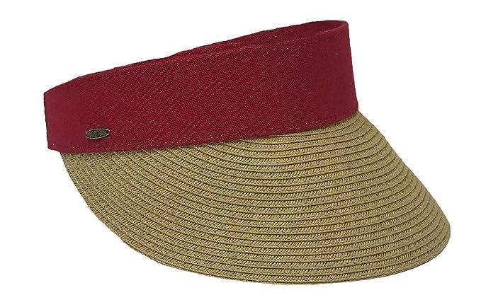 Funky Junque Women s Beach Wide Brim UPF 50+ Summer Shade Straw Visor Sun  Hat f67b9ed5c6b0