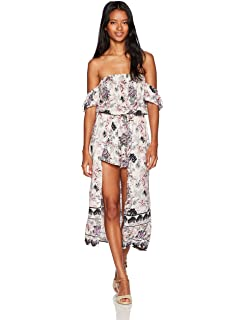065d2f840a62 Amazon.com  Angie Women s Blue Printed Maxi Romper with Surplus ...