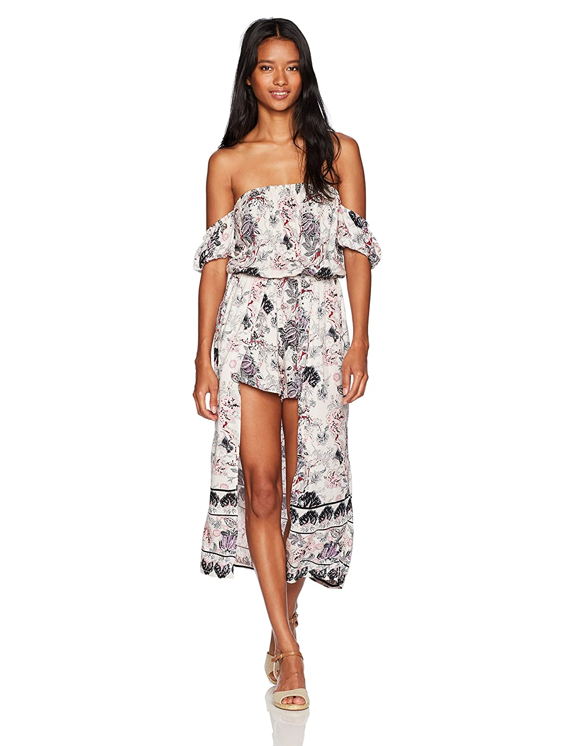 Angie Women's Off The Shoulder Printed Maxi Romper Angie Juniors Q5R83-MS17