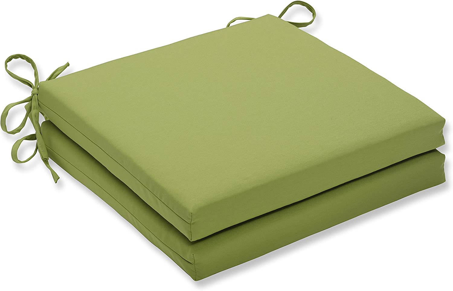 Pillow Perfect Outdoor/Indoor Fresco Pear Squared Corners Seat Cushion 20x20x3 (Set of 2),Green