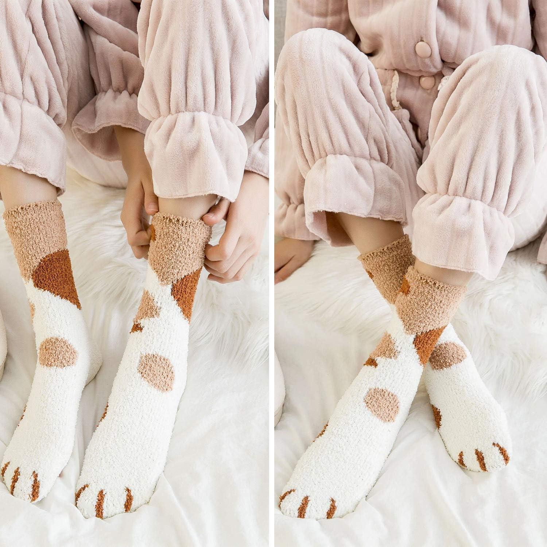 Winter-Innensocken Fuzzy Fluffy Home Socks Weiche nette Katze Claw Sleeping Socks QKURT 3 Paare Pantoffelsocken f/ür Frauen-M/ädchen
