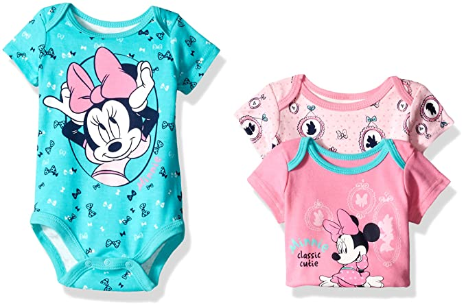 86b781a34 Amazon.com: Disney Baby Girls' 3 Pack of Minnie Mouse Bodysuits ...