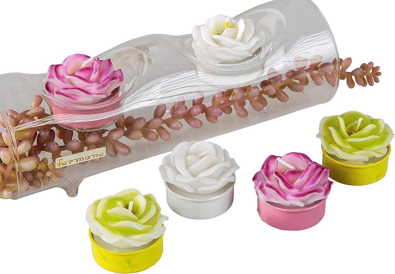 Lifestyle /& More Magnifiques Bougies Chauffe-Plat en Forme de Fleurs Blanches//Roses//Vertes dans Un Pack de 6 hauteurs 4 cm /