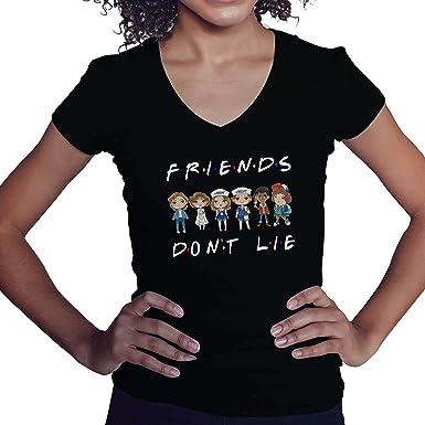 Lapi Boutique Friends Dont Lie Characters Anime Camisa de Cuello en V para Mujer: Amazon.es: Ropa y accesorios