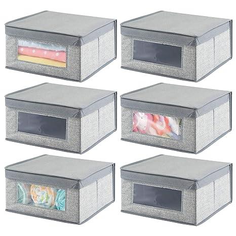 mDesign Juego de 6 cajas de tela apilables para ropa y más – Cajas con tapa
