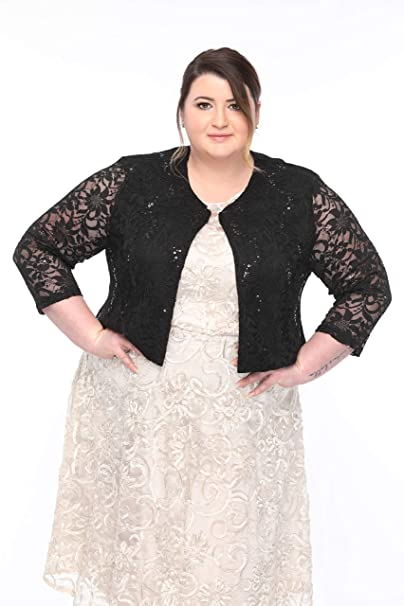 SLEEKTRENDS Plus Size Cardigan Shrugs for Dresses Lace Bolero Jacket with  Sequin for Plus Women
