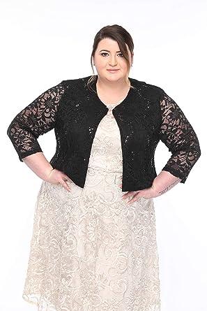 SLEEKTRENDS Plus Size Cardigan Shrugs for Dresses Lace Bolero Jacket ...