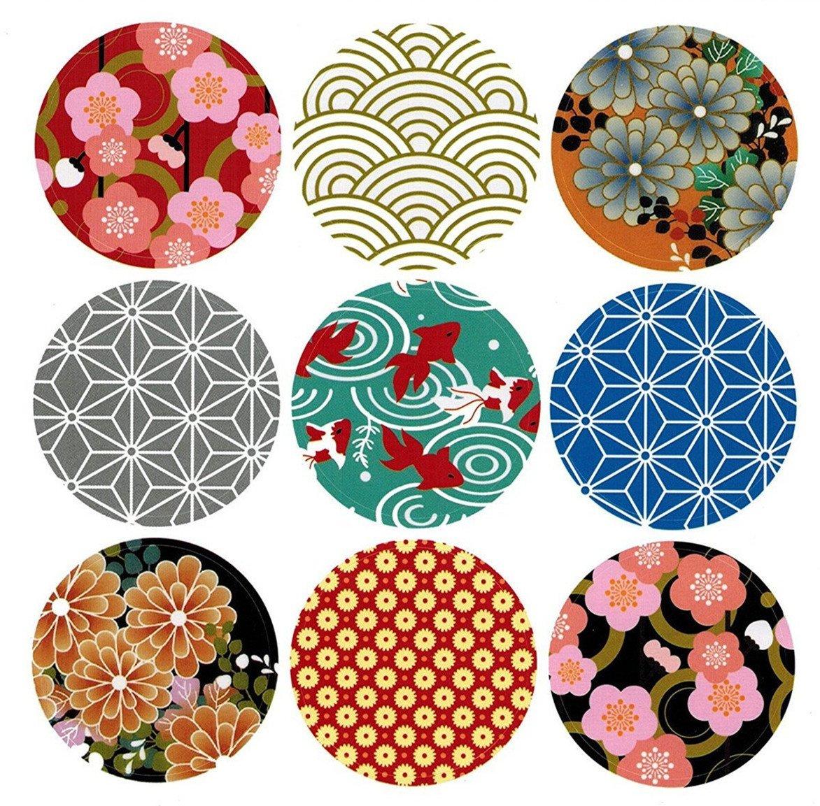 Alimitopia japan style sealing stickerround japanese traditional pattern self adhesive universal sealing paster gift packing decorative labels envelope