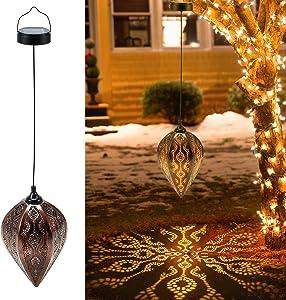 Hanging Solar Lantern, OxyLED Solar Garden Light Outdoor, LED Lanterns Solar Powered Waterproof, Decorative Retro Metal Solar Lights for Patio Yard Pathway Walkway Tree Christmas, 1 Pack
