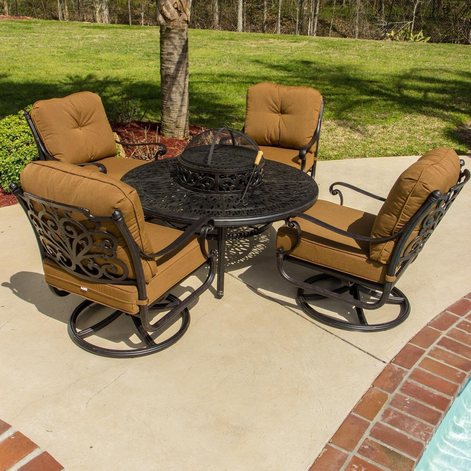 Lakeview Outdoor Designs Evangeline 4 Person Patio Deep Seating with BBQ/Fire Pit Table and Ice Bucket Insert with Swivel Rockers, Antique Bronze