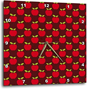 3dRose Anne Marie Baugh - Patterns - Cute Red Apple Pattern - Wall Clocks (DPP_326629_3)