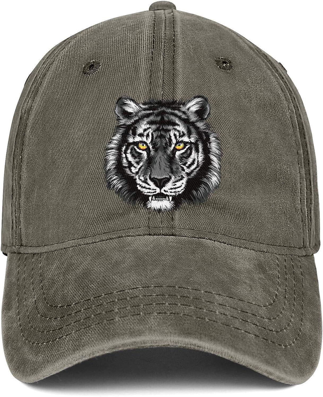 Gray Tiger Colorful Eye Unisex Baseball Cap Summer Sun Caps Adjustable Trucker Caps Dad-Hat