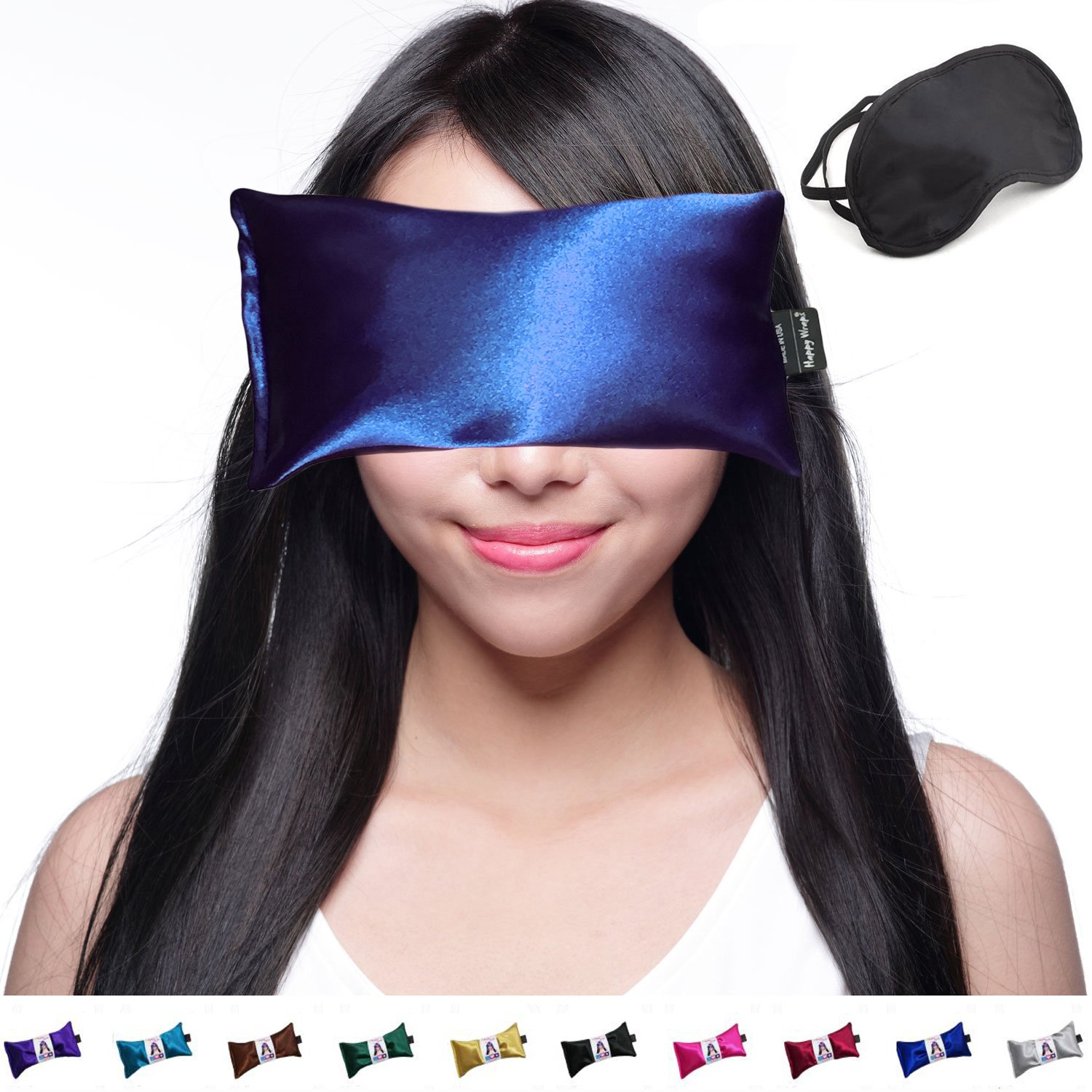 Hot Cold Lavender Eye Pillow and Eye Mask for Sleep, Yoga, Migraine Headaches, Stress Relief. By Happy Wraps - Sapphire