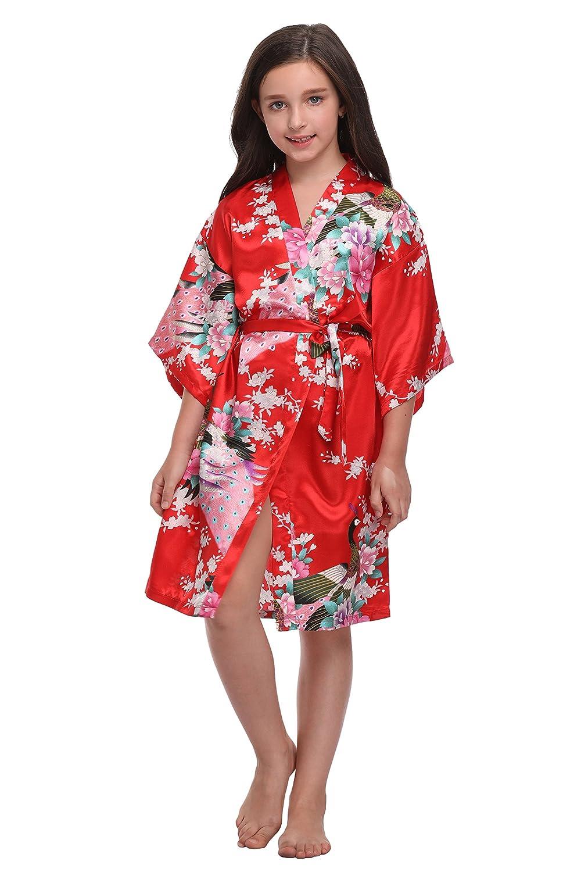 KimonoDeals Children Girls' Soft Peacock& Blossom Kimono Robe